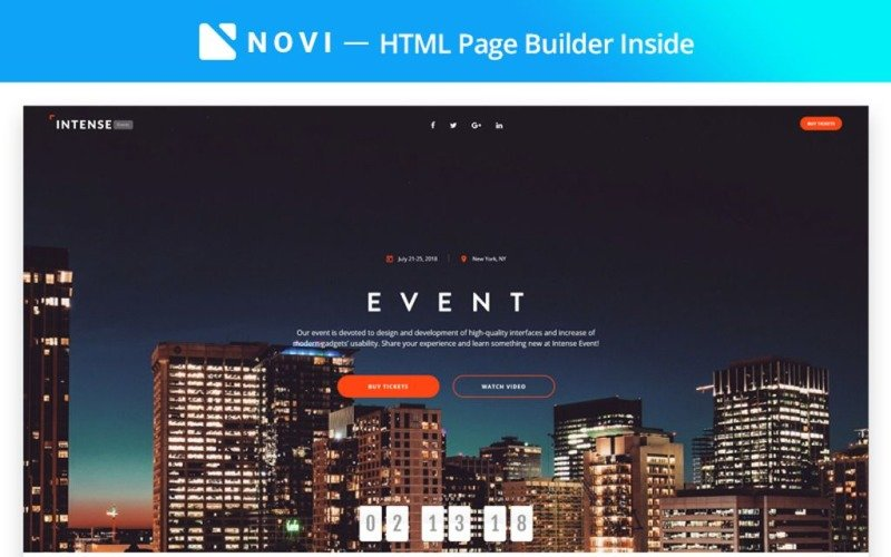 Intense Event - Event Planner with Novi Builder Landing Page Template