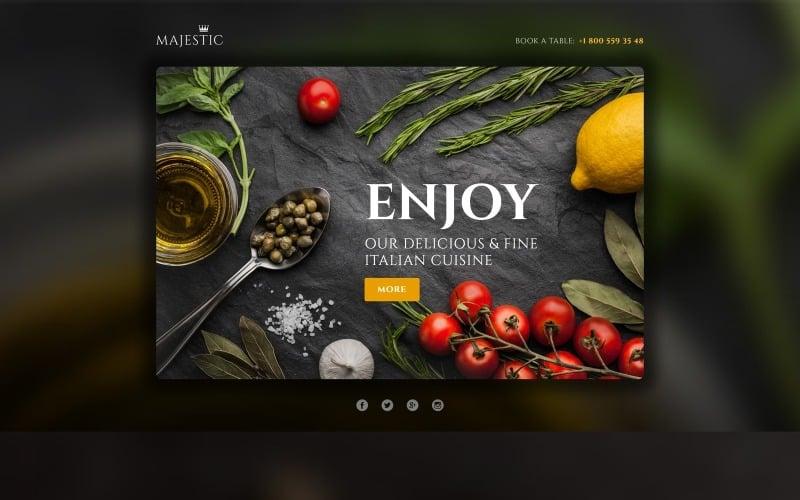 Majestic - modelo de restaurante responsivo compatível com o modelo de página de destino do Novi Builder