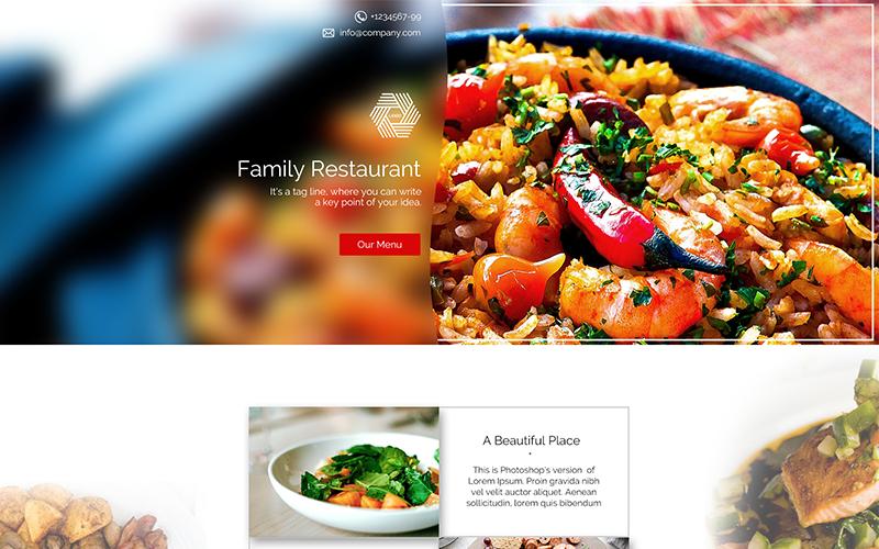 Modello PSD della pagina di destinazione del ristorante