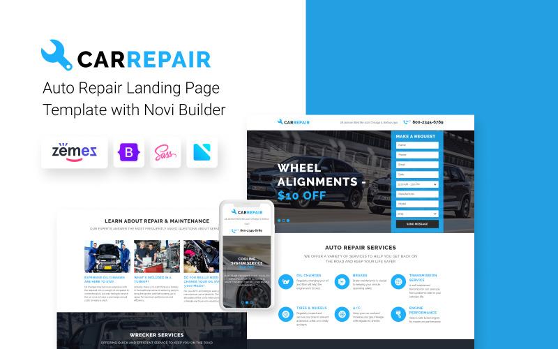 CarRepair - warsztat naprawy samochodów z wbudowanym szablonem strony docelowej Novi Builder