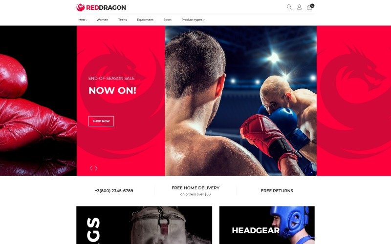 RedDragon - téma bojových umění v obchodě Magento