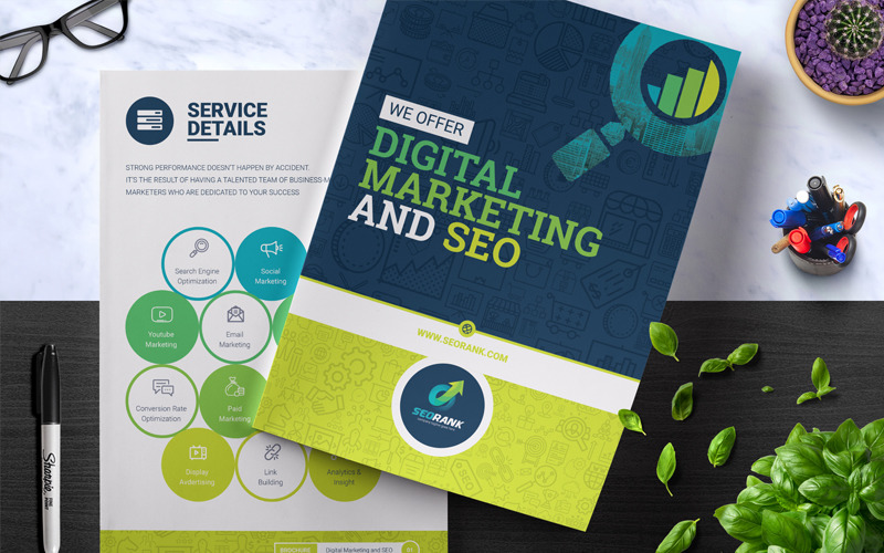 SeoRank Bi-Fold Brochure - - Corporate Identity Template