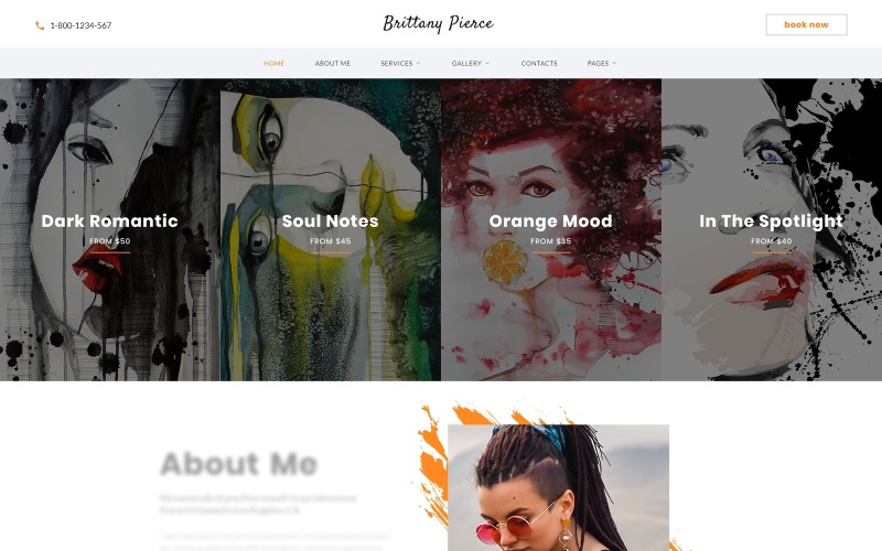 Brittany Pierce - Sanatçı Portföyü Çok Sayfalı HTML5 Web Sitesi Şablonu