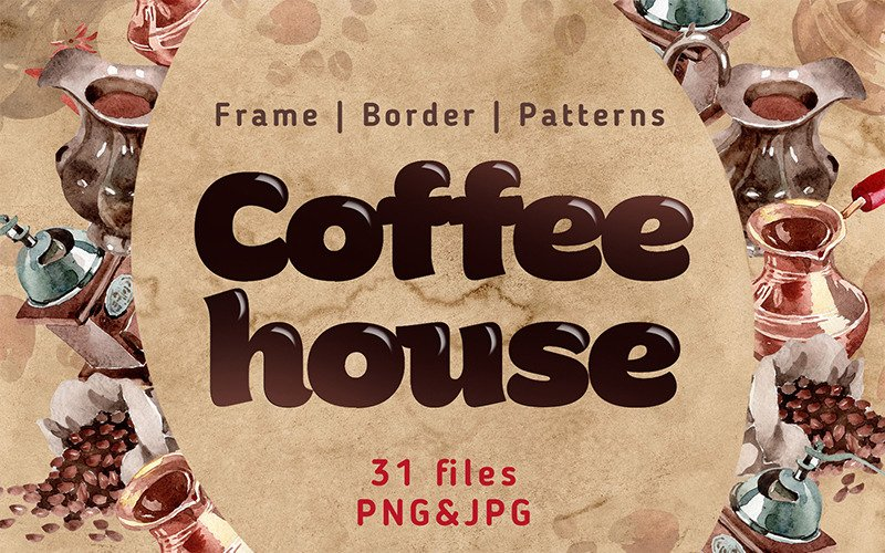 Coffee House PNG Watercolor Set - Illustration