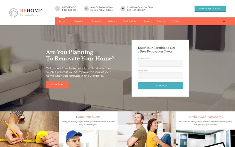 ReHome - Modèle de site Web HTML multipage pour la rénovation et la modélisation de maisons