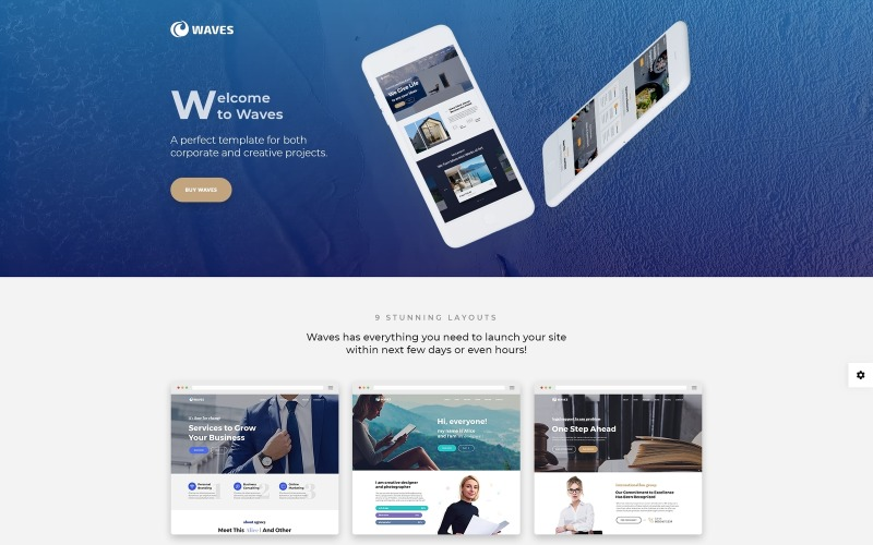 Vlny - šablona jedné webové stránky firmy na jedné stránce