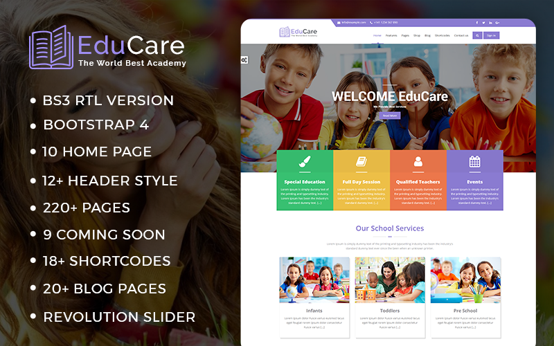 EduCare  -  Education With RTL Ready Website Template