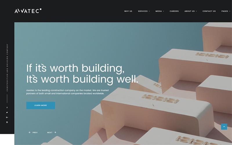 Awatec - Stílusos Építőipari Vállalat Többoldalas HTML Webhely Sablon