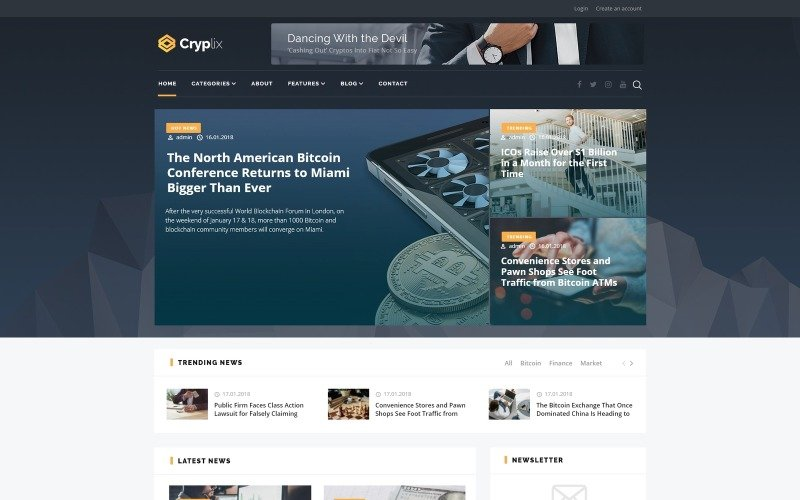 Cryplix - тема WordPress для блогов о биткойнах