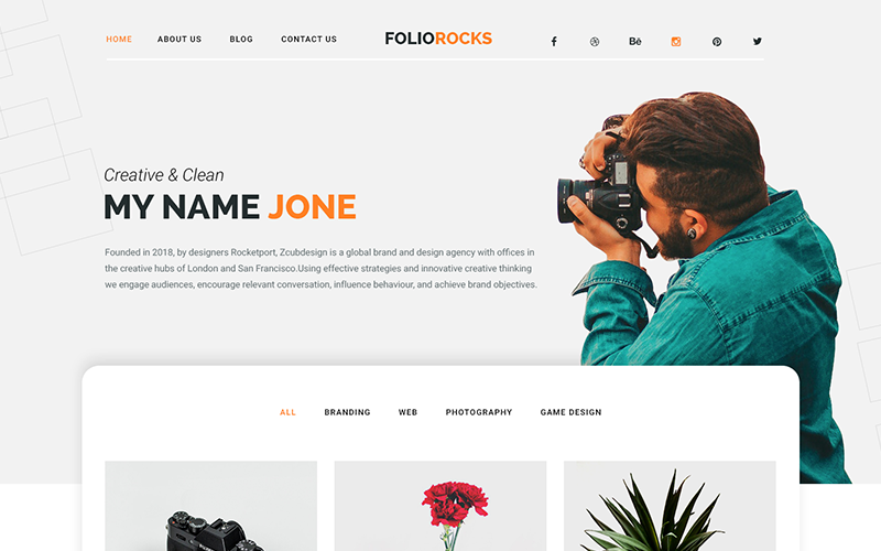 Foliorocks - Portfolio & Agency PSD Template