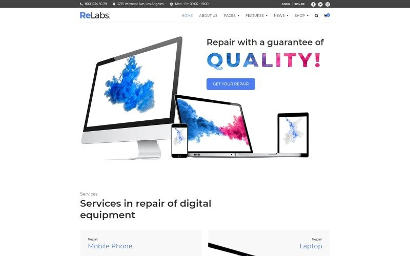 ReLabs - тема WordPress для ремонта компьютеров