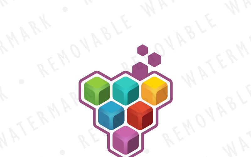 Шаблон логотипа кластера куба винограда