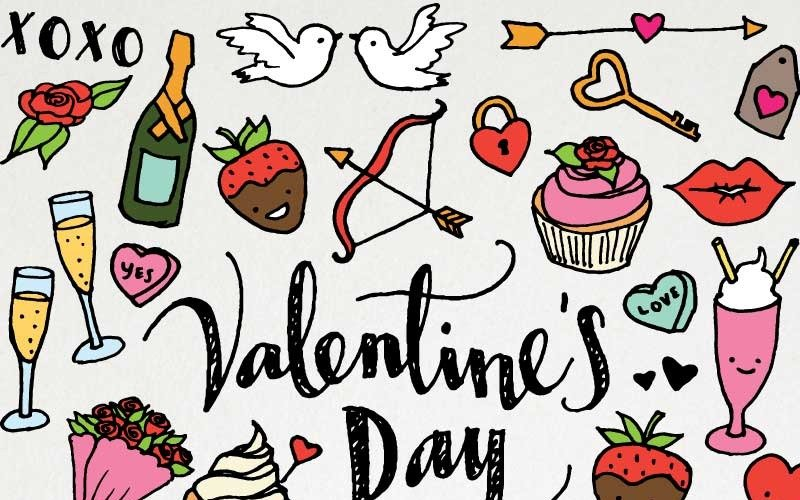 Valentines Day & Love Hand Sketched Clipart Pack - Illustration