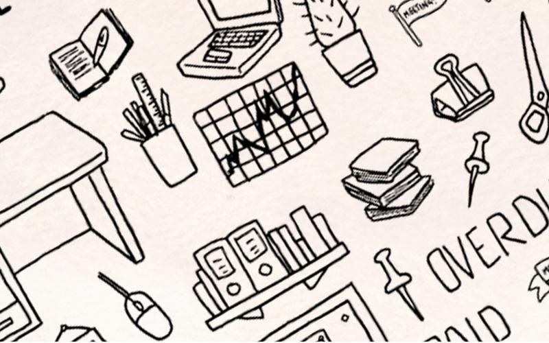 123 Dibujos vectoriales de trabajo de oficina y negocios - Ilustración