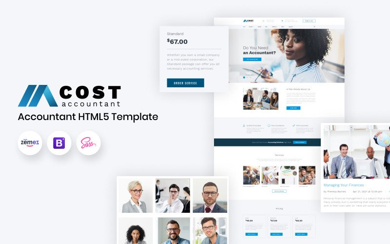 Kostnad - HTML5 webbplatsmall för bokföring
