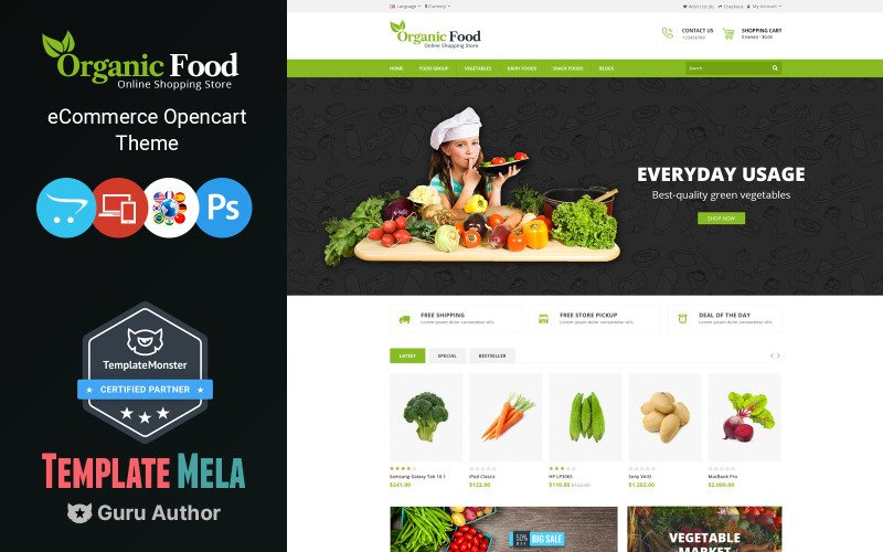 Modèle OpenCart de magasin d'aliments biologiques