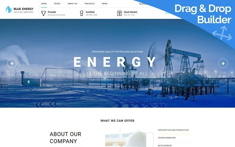 Blue Energy - Industrial Moto CMS 3 Template