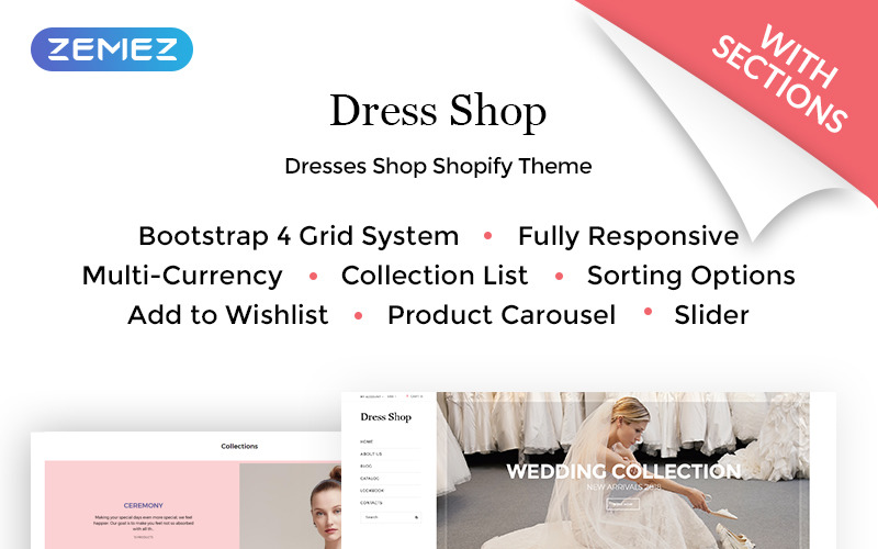 Dress Shop - Sophisticated Wedding Dress Online Shop Shopify Theme