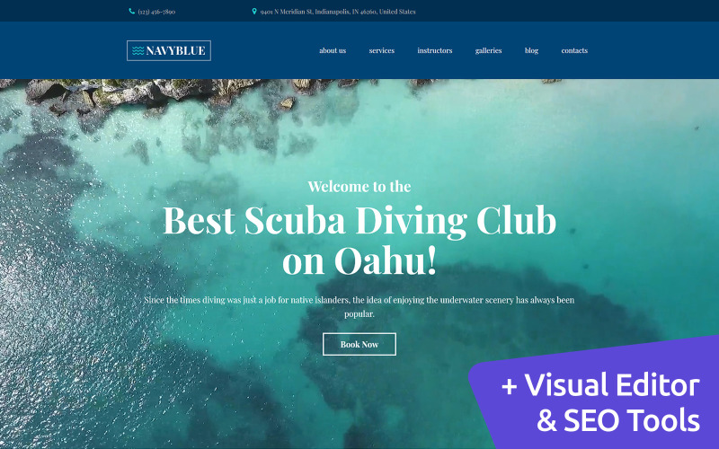 NavyBlue - Scuba Diving Club Moto CMS 3 Template