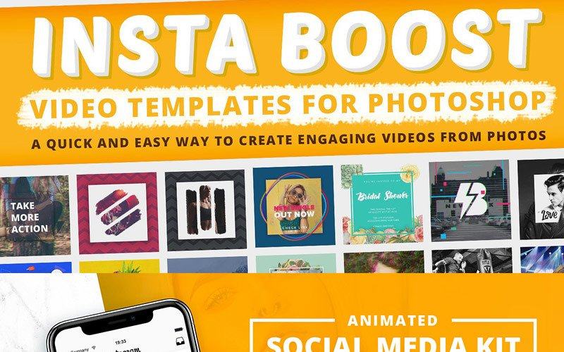 Animated - Plantillas de video de Instagram para Photoshop para redes sociales