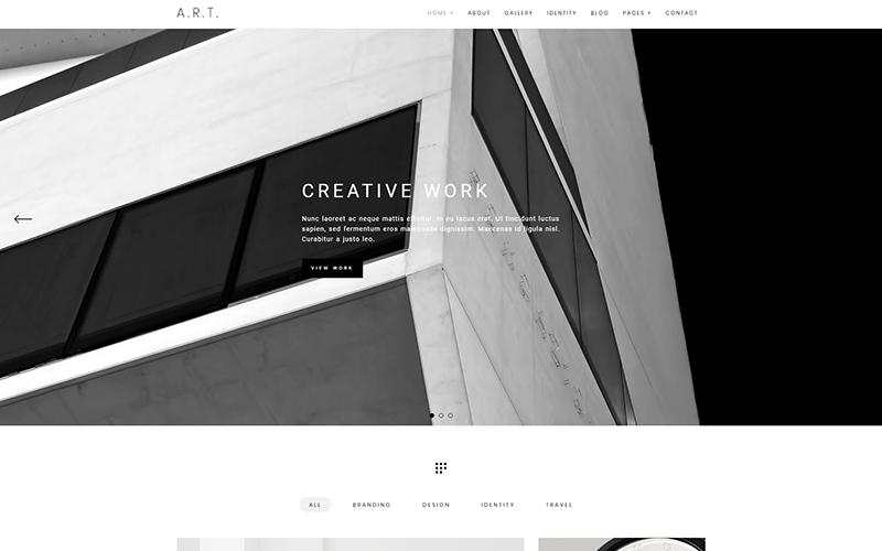 Art - Мінімальне портфоліо та фотографія WordPress тема