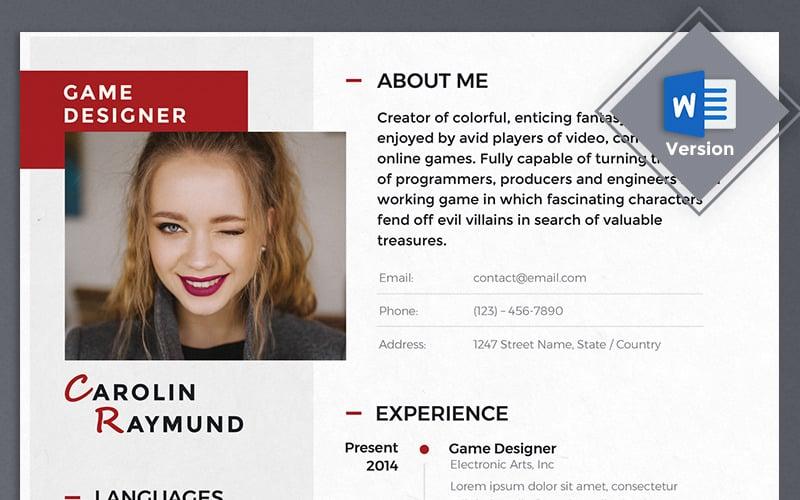 Carolin Raymund - шаблон резюме игрового дизайнера