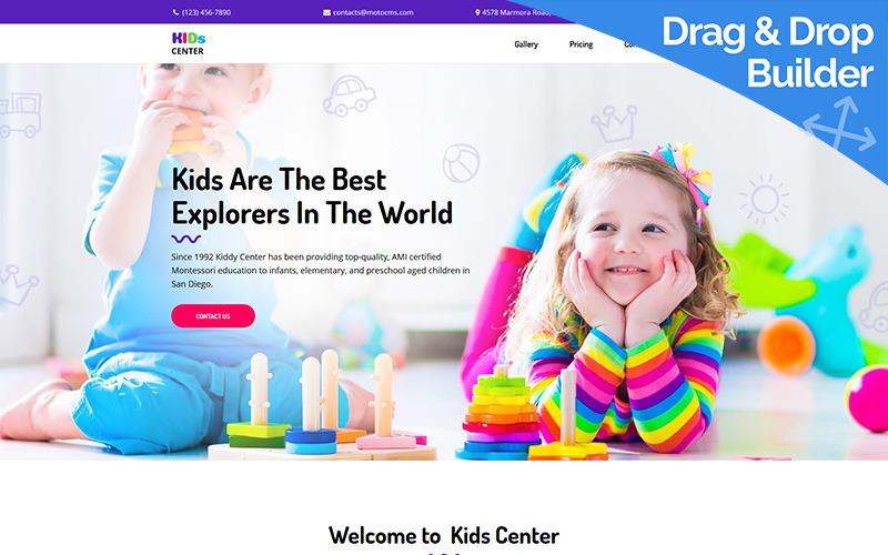Modelo de página inicial do Kids Center