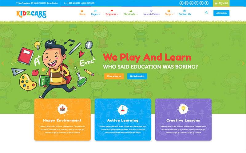KIDZCARE - Plantilla de sitio web HTML5 receptivo multiusos académico de guardería infantil