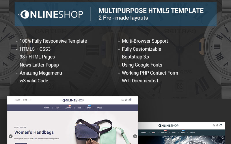 Onlineshop - Responsive Multipurpose E-Commerce HTML5 Website Template