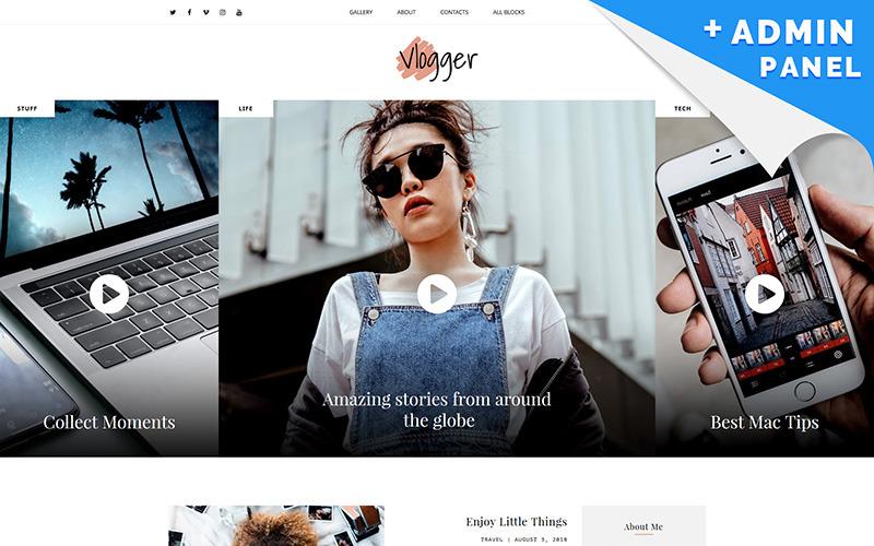 Video Blogger MotoCMS 3 Landing Page Template
