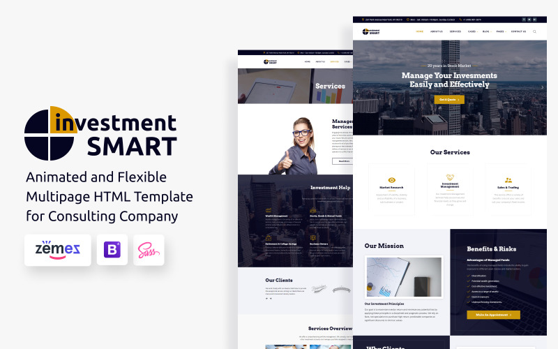 Investment Smart - Modello di sito web per società di gestione degli investimenti