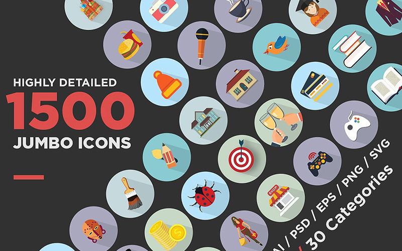Jumbo platt ikoner Pack Set