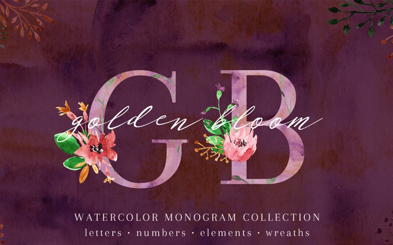 Golden Bloom - Monograma - Ilustración