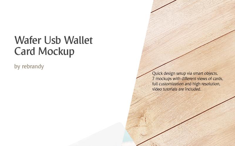 Мокап продукта карты бумажника USB Wafer