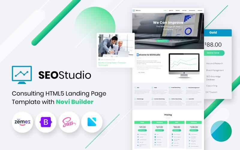 SEO Studio - Consultation du HTML avec le modèle de page de destination Novi Builder