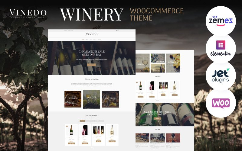 Vinedo - Tema Vinery Elementor WooCommerce