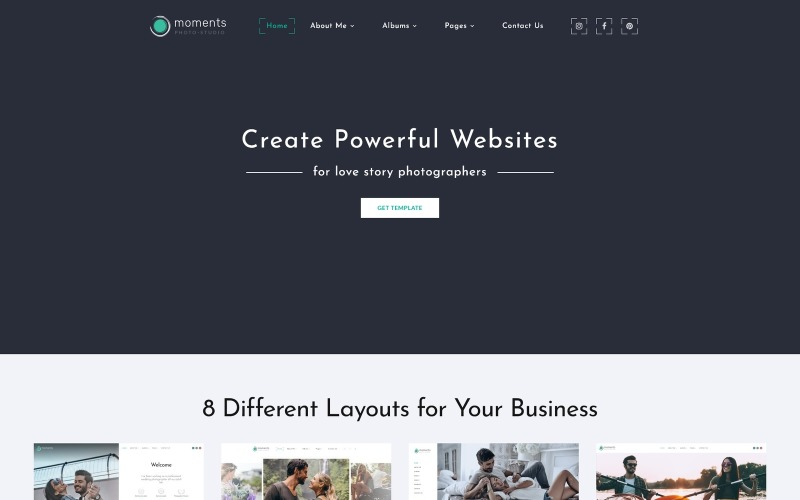 Momentos - Modelo de site multiuso para portfólio de fotógrafos