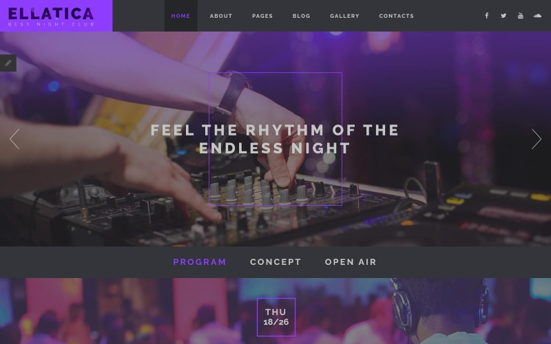 Ellatica - Nightclub Joomla Template