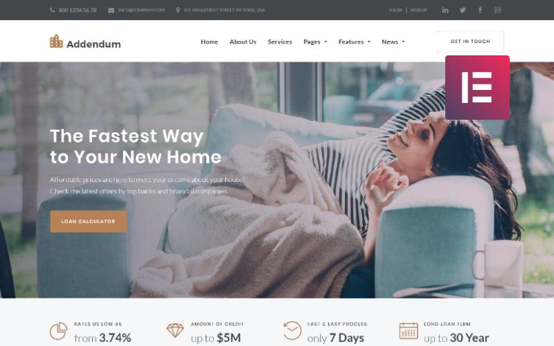 Додаток - тема іпотечної компанії WordPress Elementor
