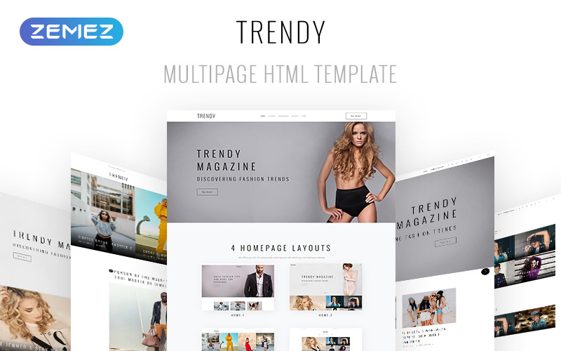 Trendy - Plantilla de sitio web HTML5 de varias páginas para revistas de moda