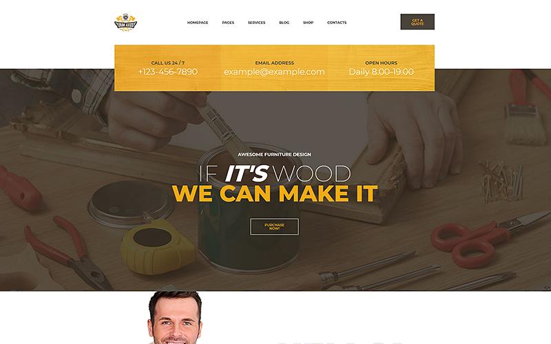 Modèle de site Web de menuiserie et de menuiserie IronAxe