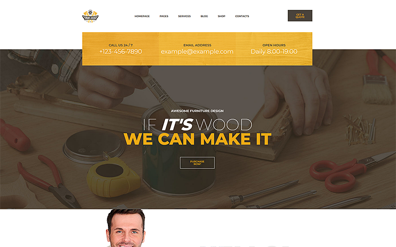 IronAxe Carpentry and Woodwork Website Template