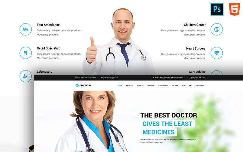 Medicatieve medische websitesjabloon