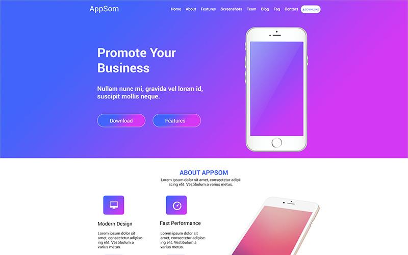 Appsom - PSD шаблон App Landing