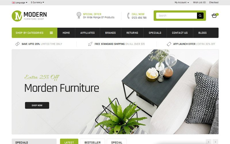 Modern Furniture Store OpenCart Template