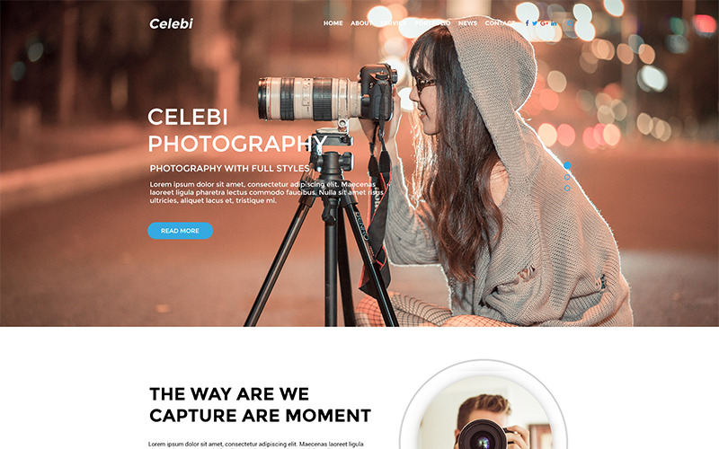 Celebi - PSD-sjabloon voor professionele fotografiewebsite