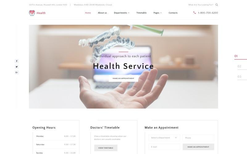 Здоров'я - Шаблон веб-сайту для багатосторінкової клініки HTML5