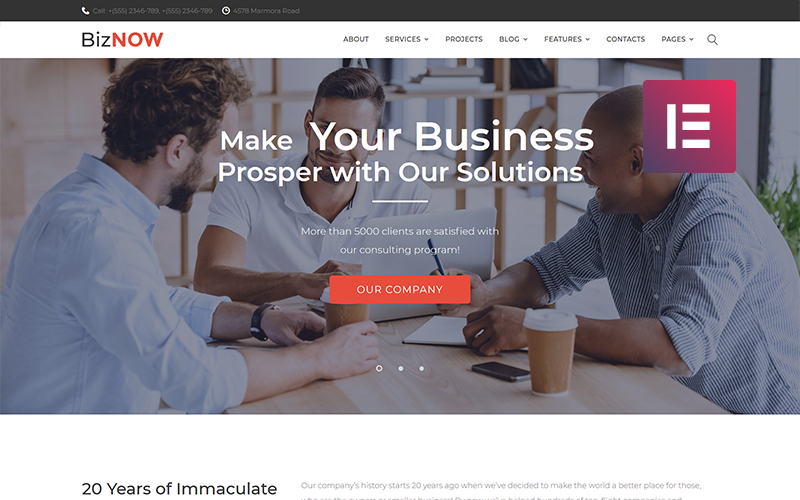 Biznow - Business Consulting WordPress Elementor Theme
