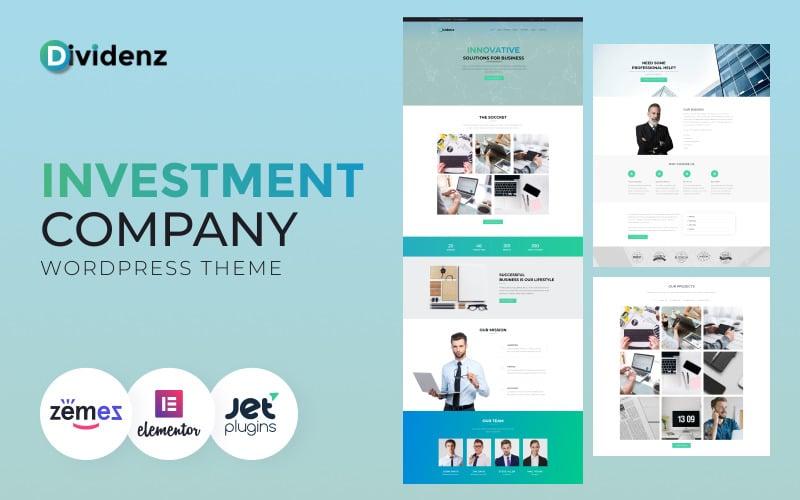 Dividenz - Investment Company WordPress Elementor Theme