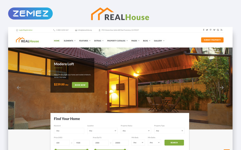 RealHouse - Real Estate Multipage HTML5 Website Template